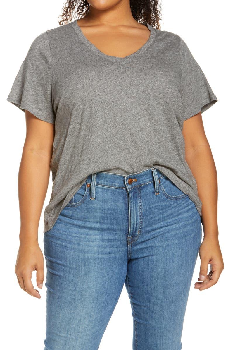 MADEWELL Whisper Cotton V-Neck T-Shirt, Main, color, IRON