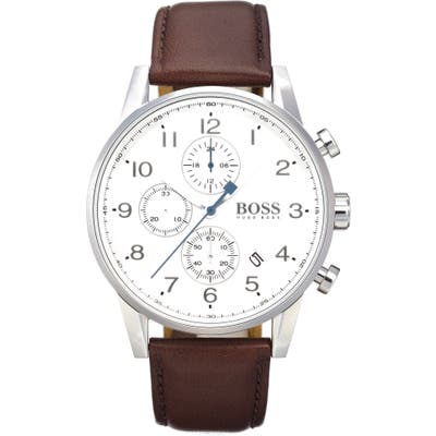 Boss Chronograph Leather Strap Watch, 4m