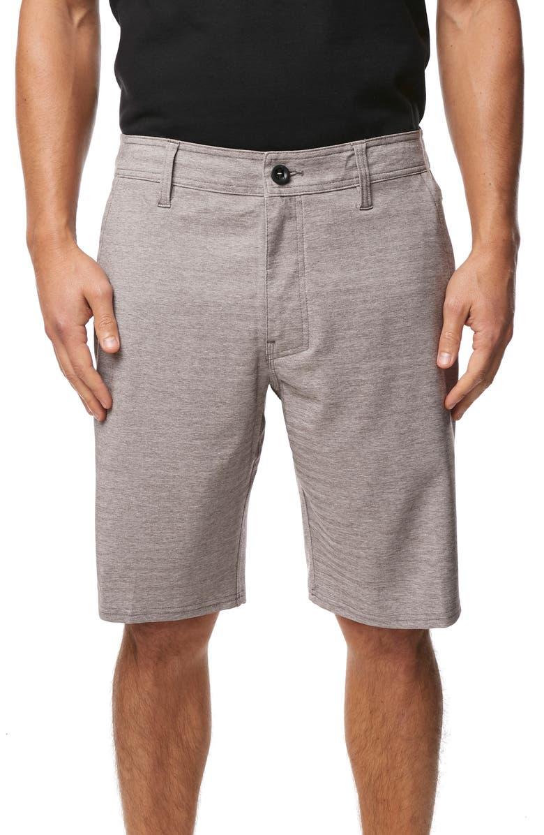 O'NEILL Locked Herringbone Hybrid Shorts, Main, color, GUN METAL