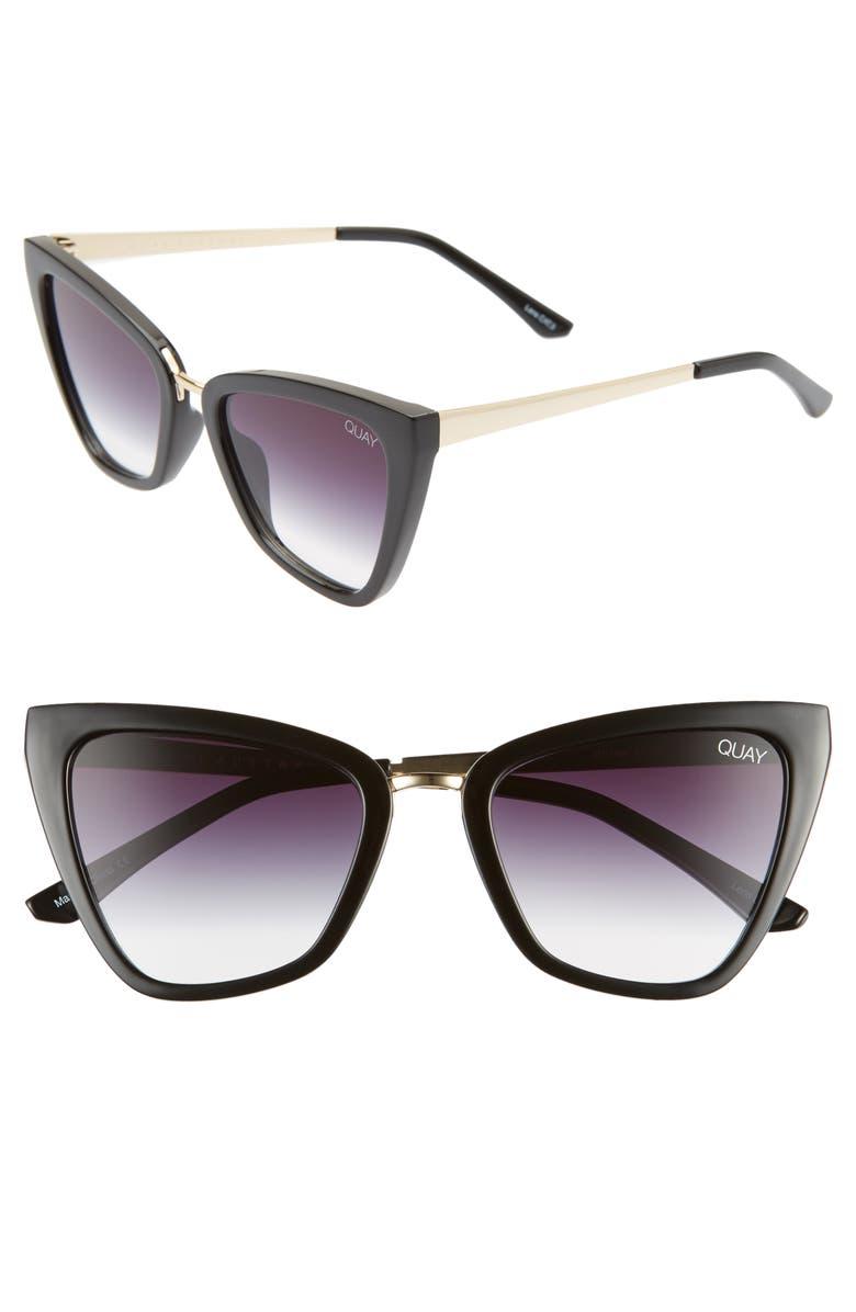 QUAY AUSTRALIA x JLO Reina 52mm Mini Cat Eye Sunglasses, Main, color, BLACK/ FADE