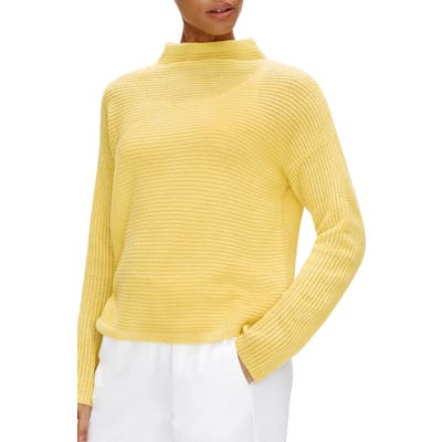 Eileen Fisher Funnel Neck Boxy Cashmere Sweater, Yellow