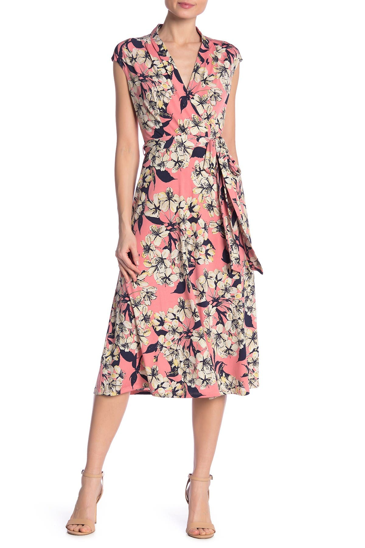 Image of London Times Surplice Floral Midi Dress