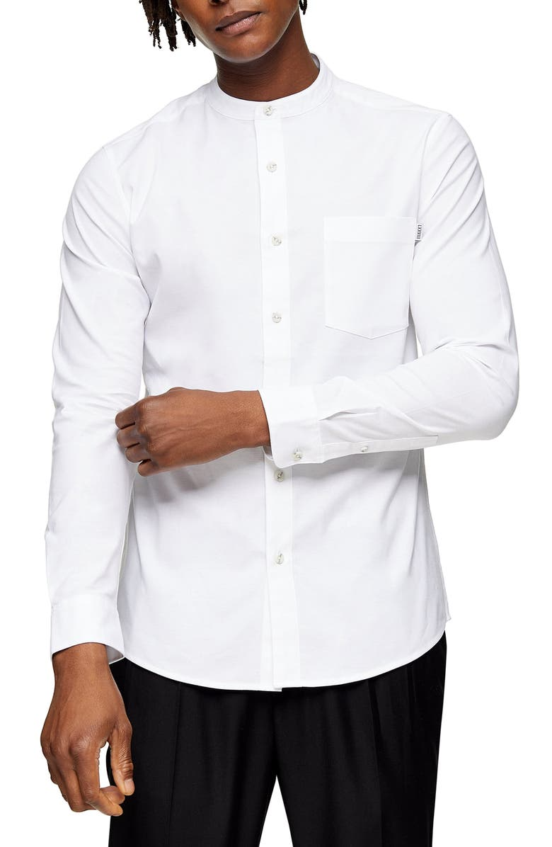 TOPMAN Skinny Fit Button-Up Oxford Shirt, Main, color, WHITE