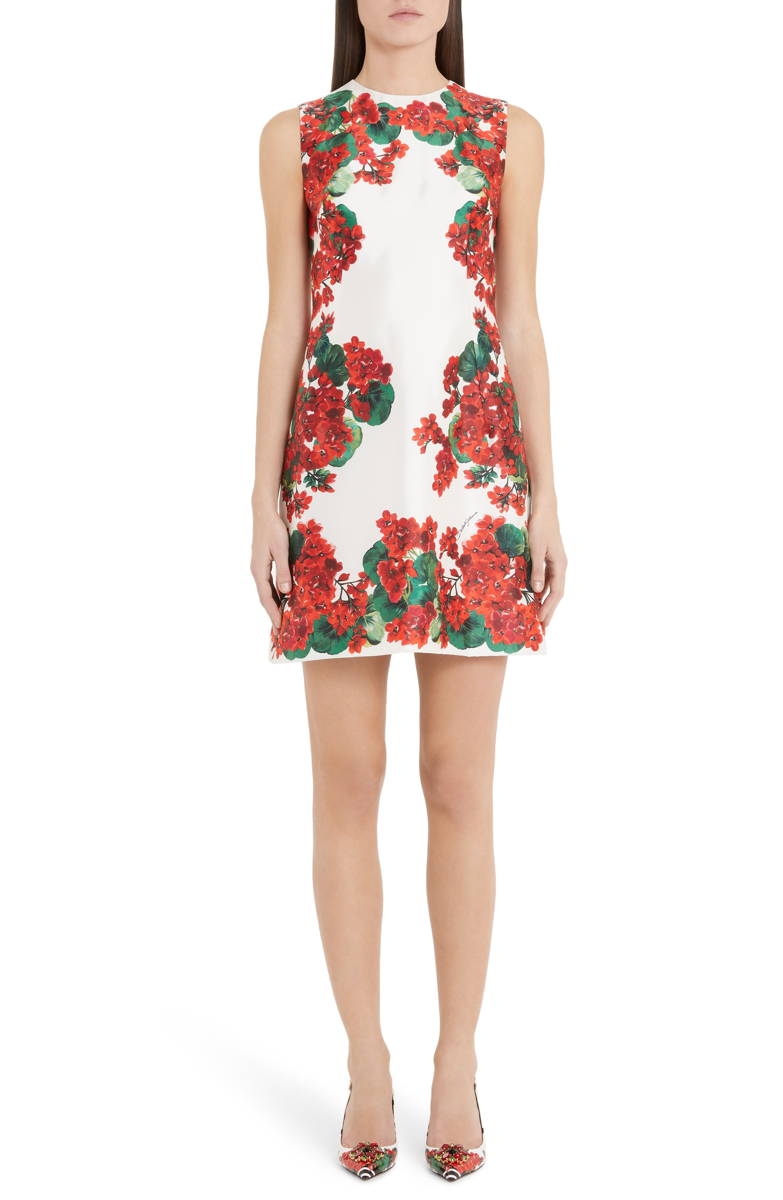 Dolce & gabbana Geranium Print A-Line Silk Minidress, 8 IT - Red