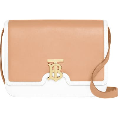 Burberry Medium Two-Tone Leather Tb Bag - Beige