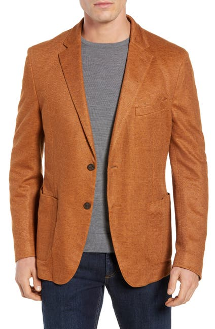 Image of FLYNT Pumpkin Two Button Notch Lapel Regular Fit Soft Knit Sport Jacket