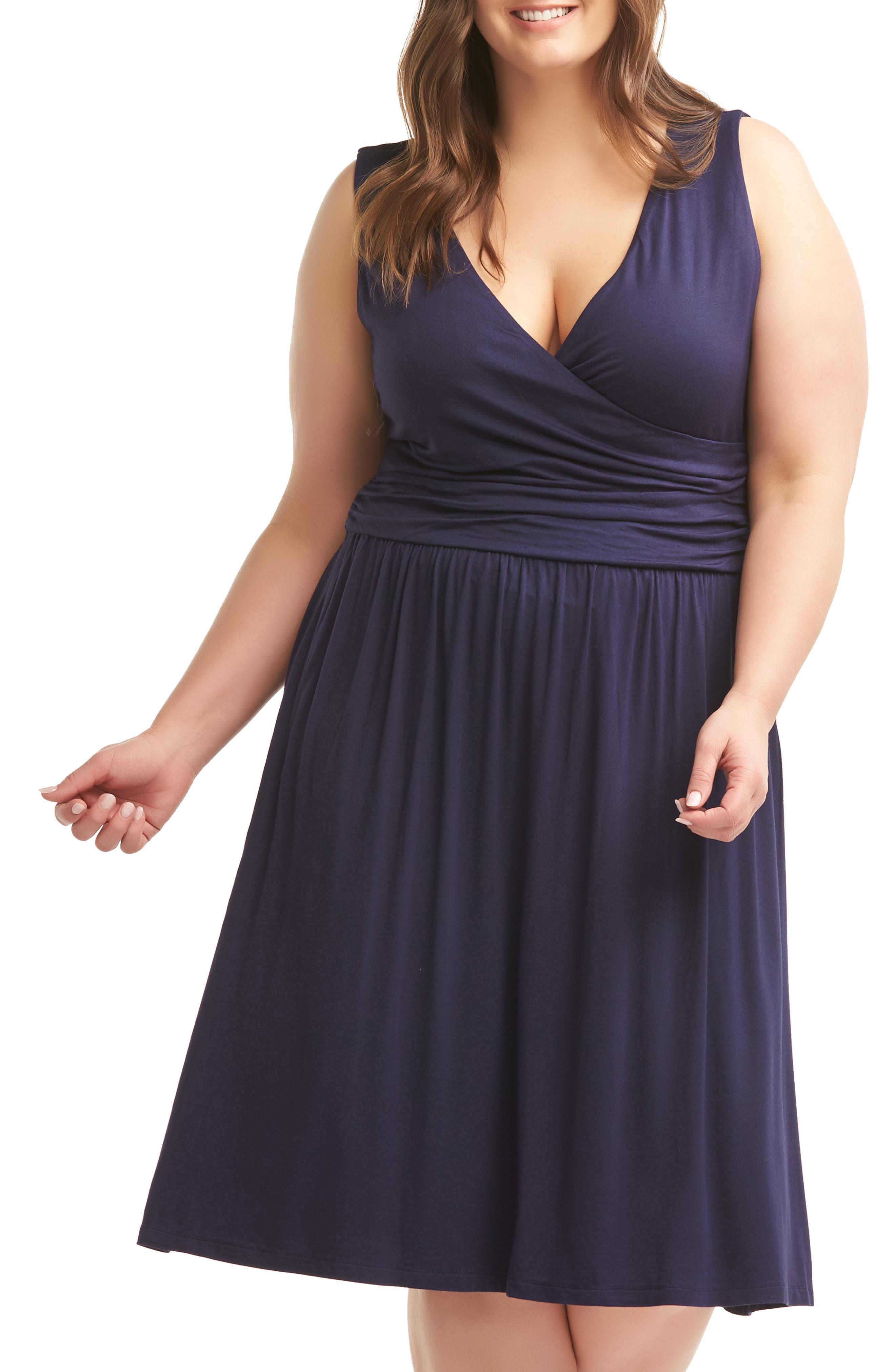 Plus Size Lemon Tart Celia Fit & Flare Dress, Blue