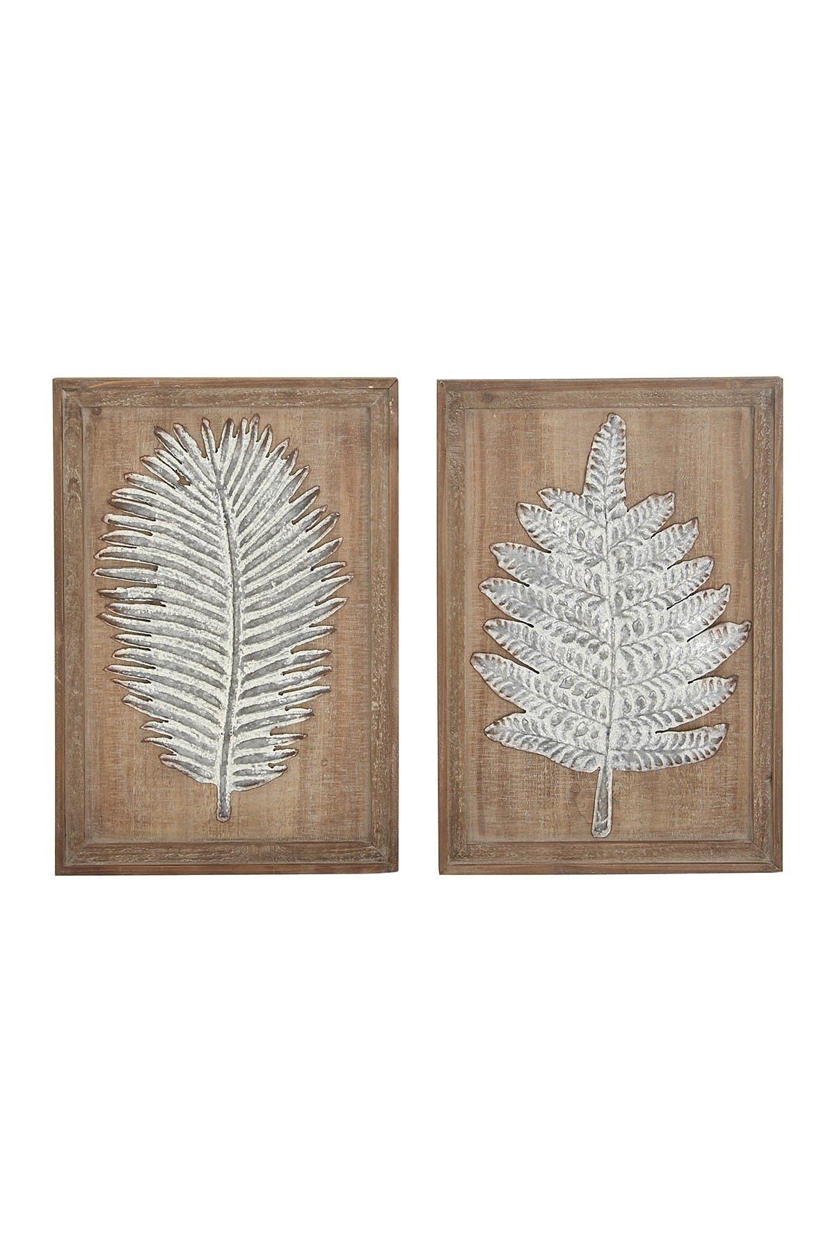 Image of Willow Row Rectangular Brown Wood and Metal Wall Panel - Set of 2