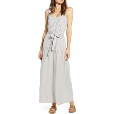Lucky Brand Eliza Stripe Belted Sleeveless Cotton Blend Maxi Dress, White