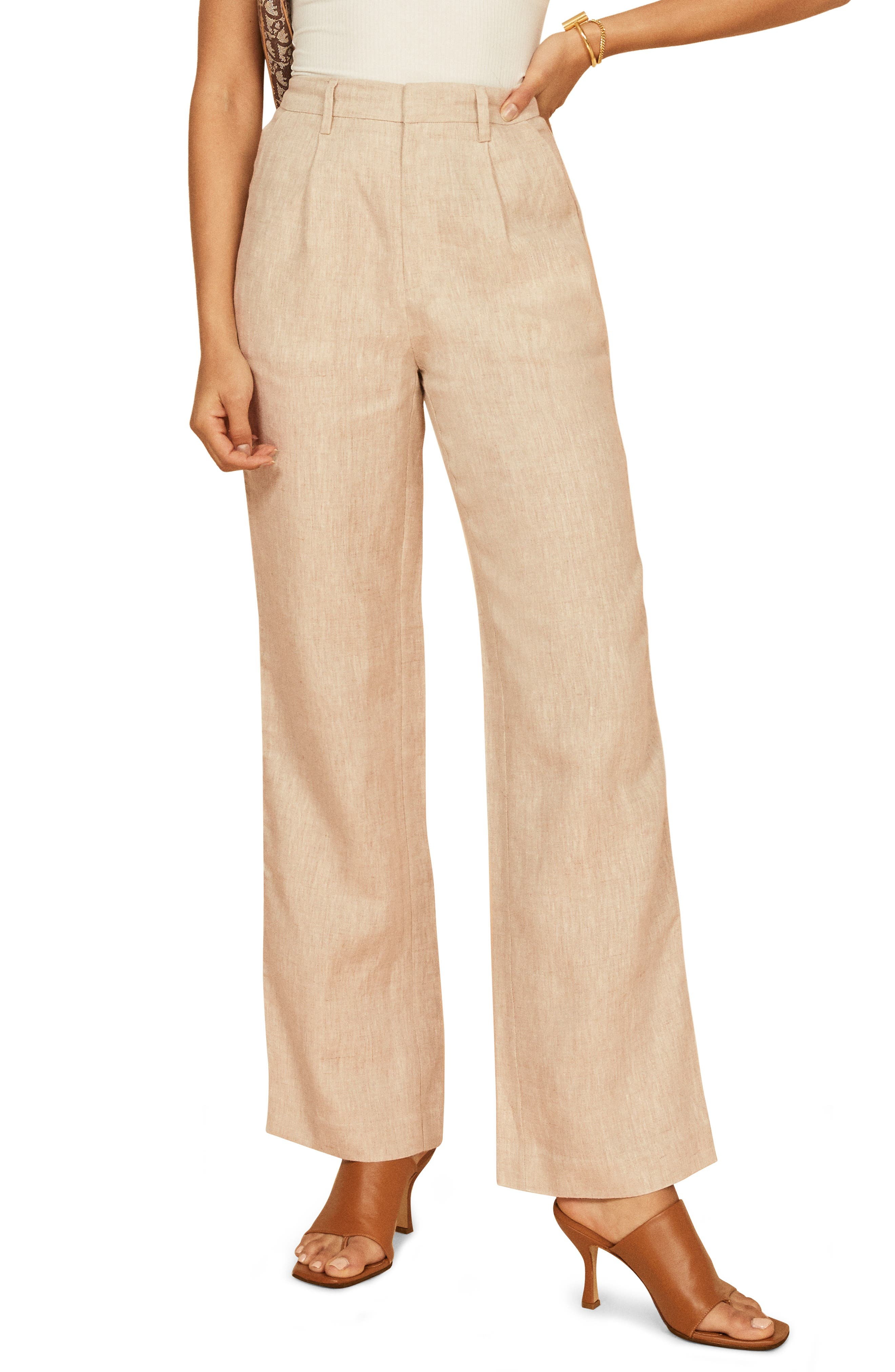 Wide-leg pants cut from lightweight linen complete your look with effortlessly chic and streamlined style. Style Name: Reformation Cello Wide Leg Linen Pants. Style Number: 6054608 1. Available in stores.