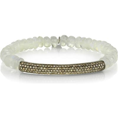 Sheryl Lowe Pave Diamond Bar Beaded Bracelet