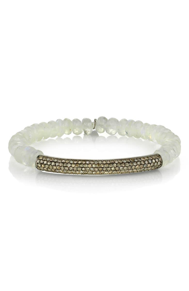1d0d68403d9 Pavé Diamond Bar Beaded Bracelet, Main, color, MOONSTONE/ DIAMOND