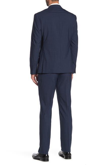 Image of Original Penguin Nested Blue Checked Two Button Notch Lapel Trim Fit Suit