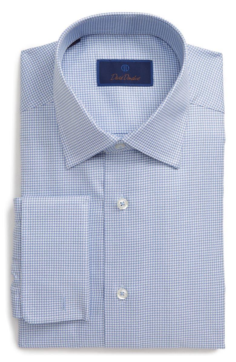 DAVID DONAHUE Regular Fit Houndstooth Dress Shirt, Main, color, BLUE