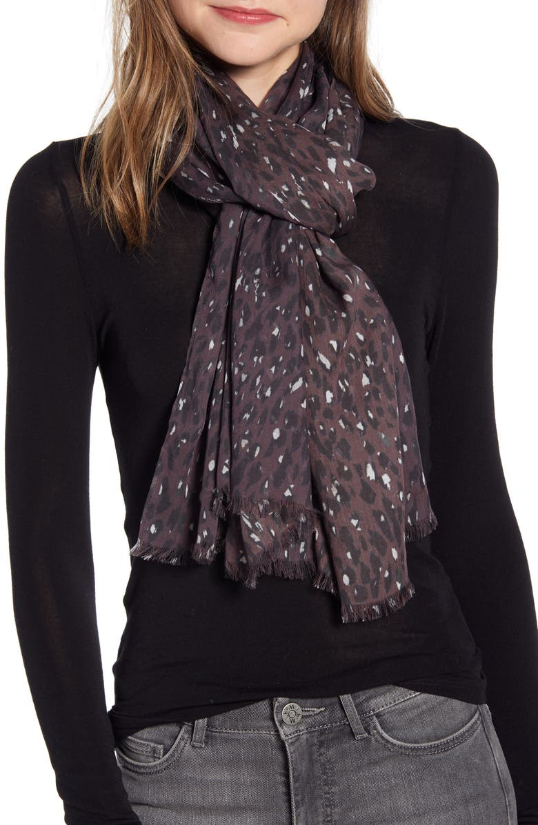 ALLSAINTS Spotty Leopard Scarf, Main, color, BERRY