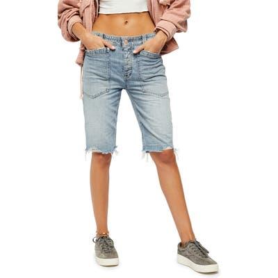 Free People Rebel Rouser Cutoff Shorts, Blue