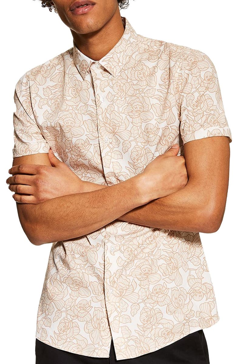 Stretch Skinny Fit Floral Shirt by Topman