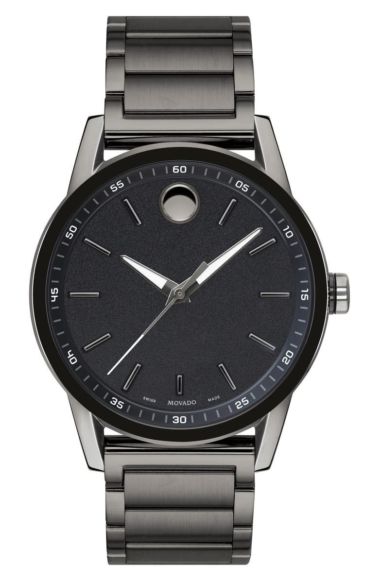 MOVADO Museum Sport Bracelet Watch, 42mm, Main, color, GUNMETAL/ BLACK