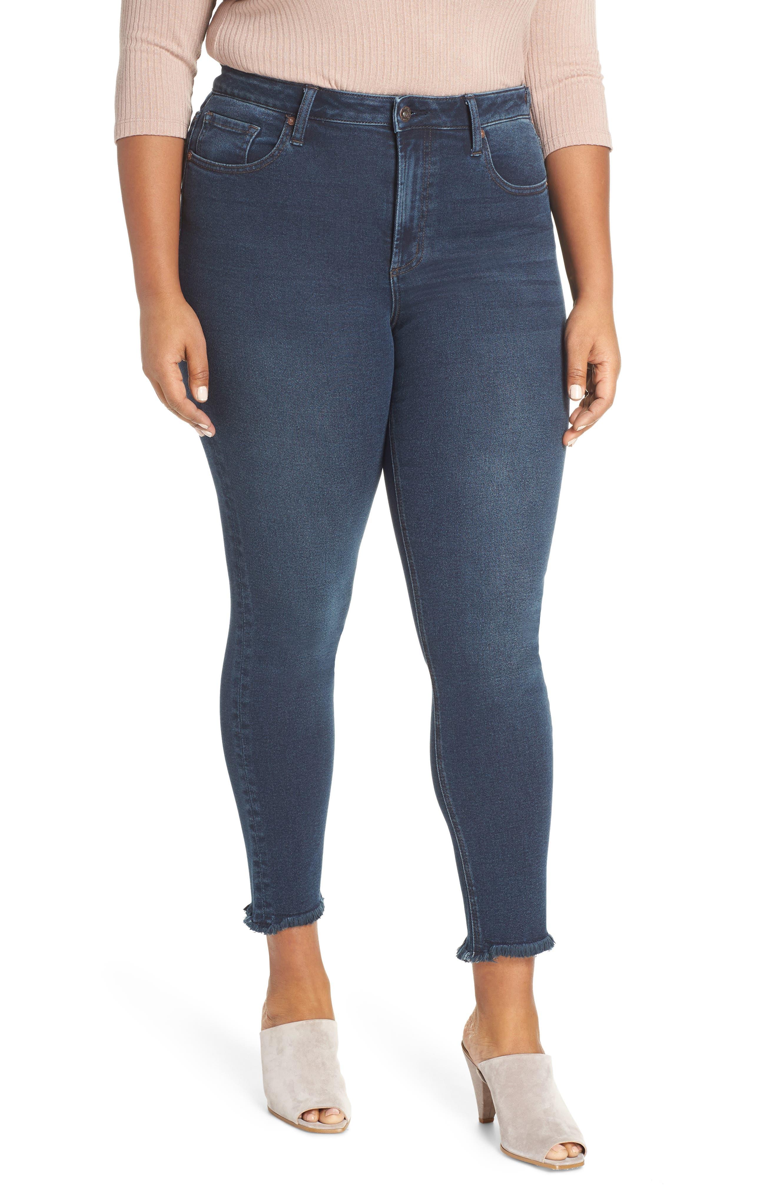 Perfect Vintage High Waist Core Fringe Hem Skinny Jeans, Main, color, WINSTON