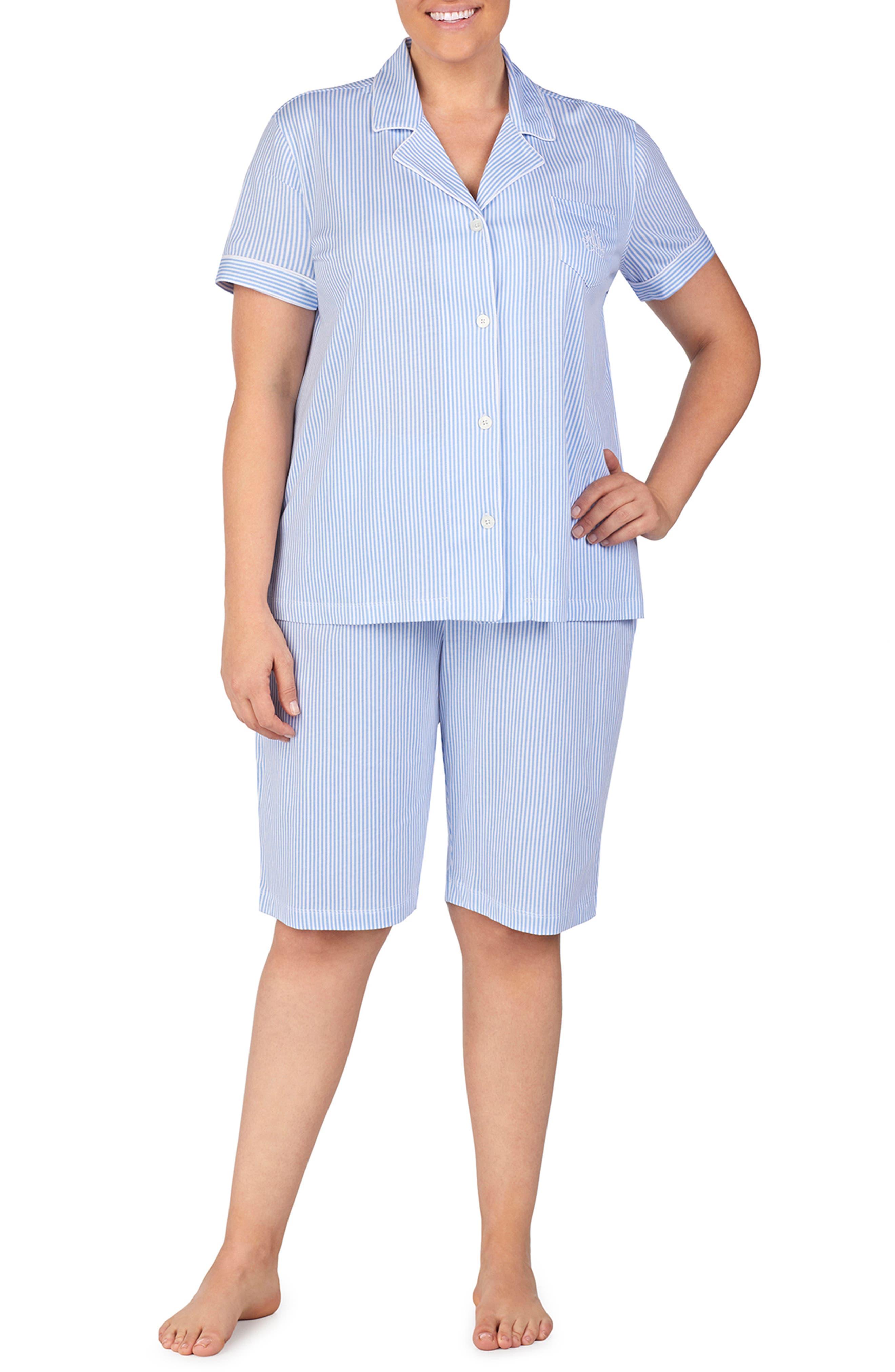 Plus Size Lauren Ralph Lauren Bermuda Pajamas, Blue