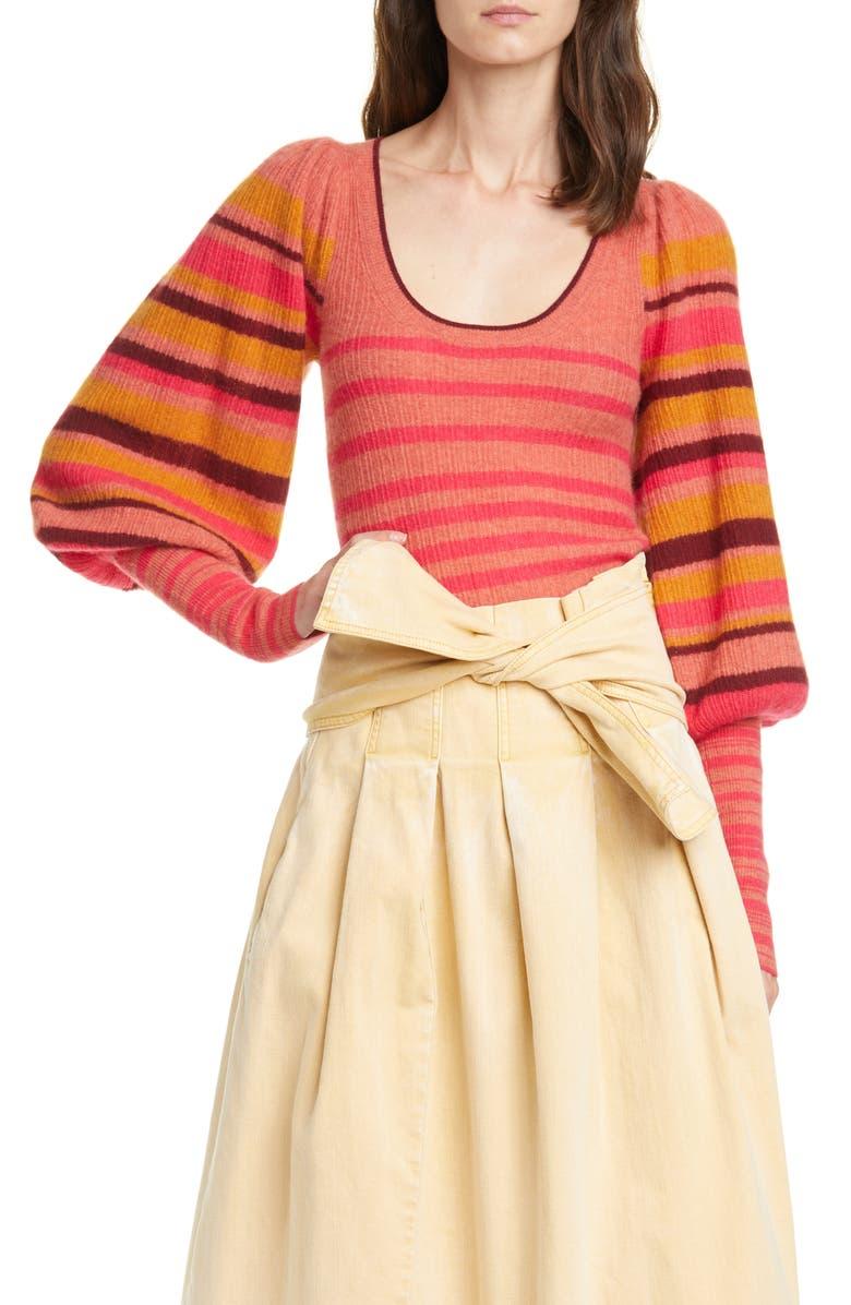 ULLA JOHNSON Kariana Stripe Cashmere Sweater, Main, color, CERISE