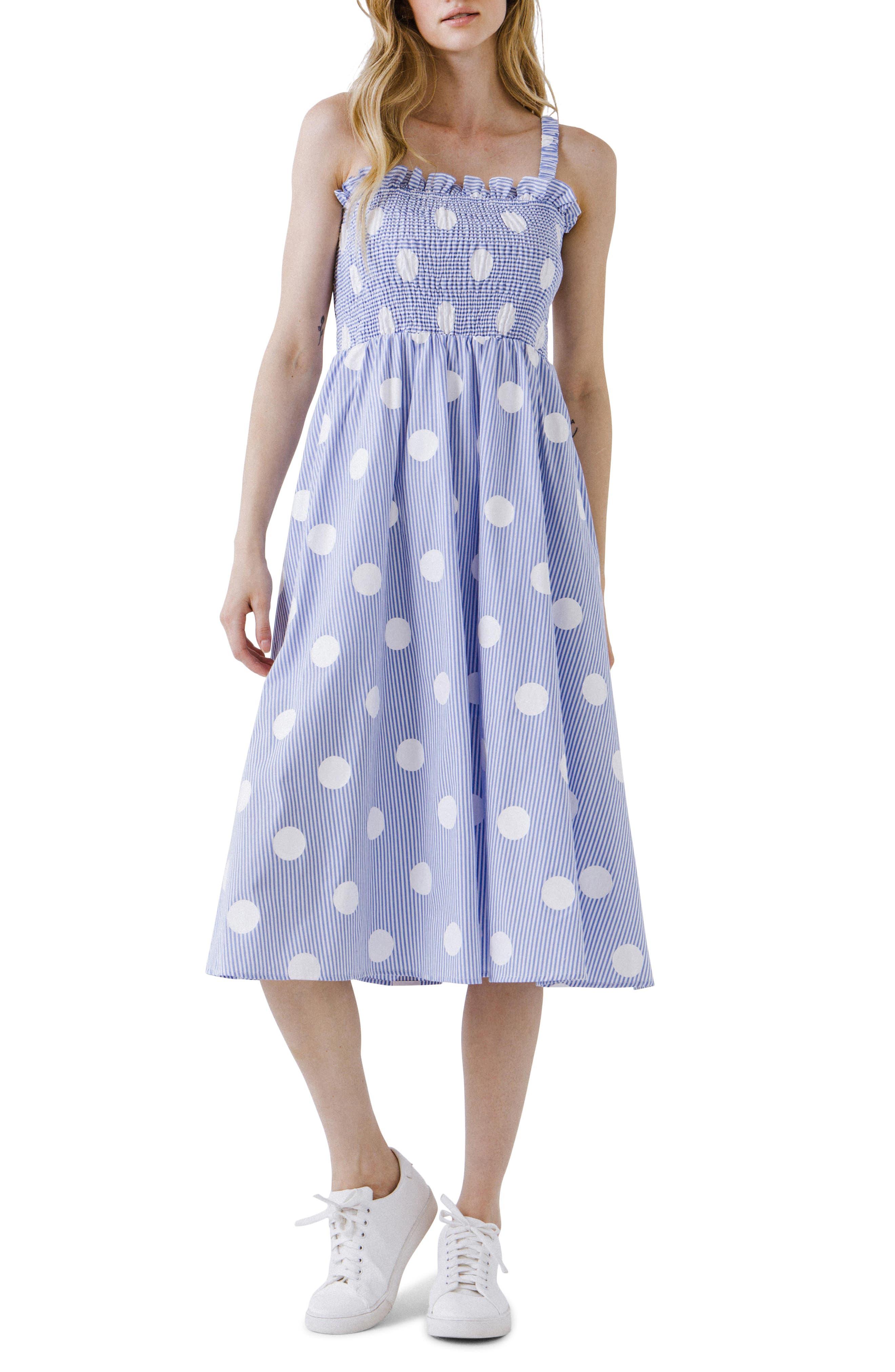 Polka Dot Smocked Midi Dress