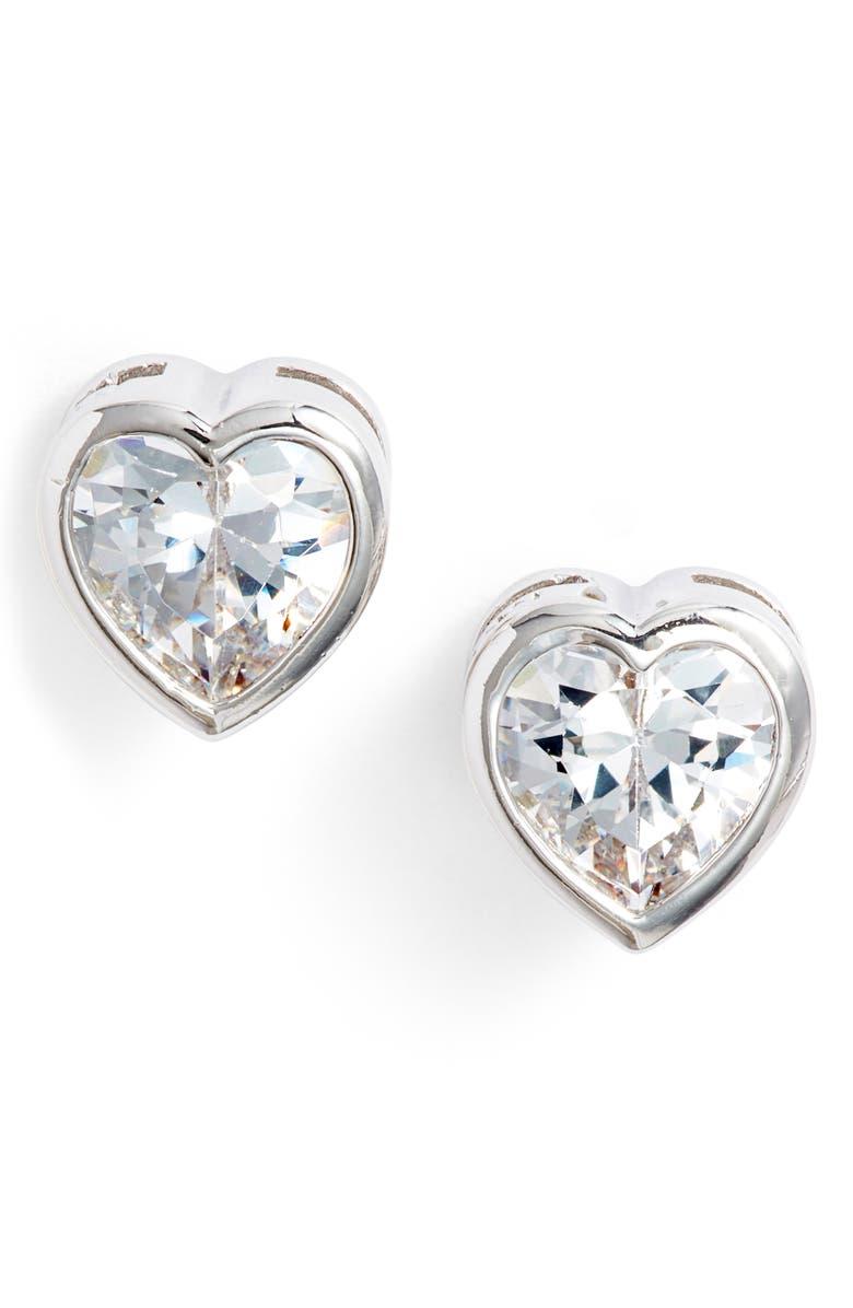 MELINDA MARIA Heart Stud Earrings, Main, color, SILVER/ WHITE CZ