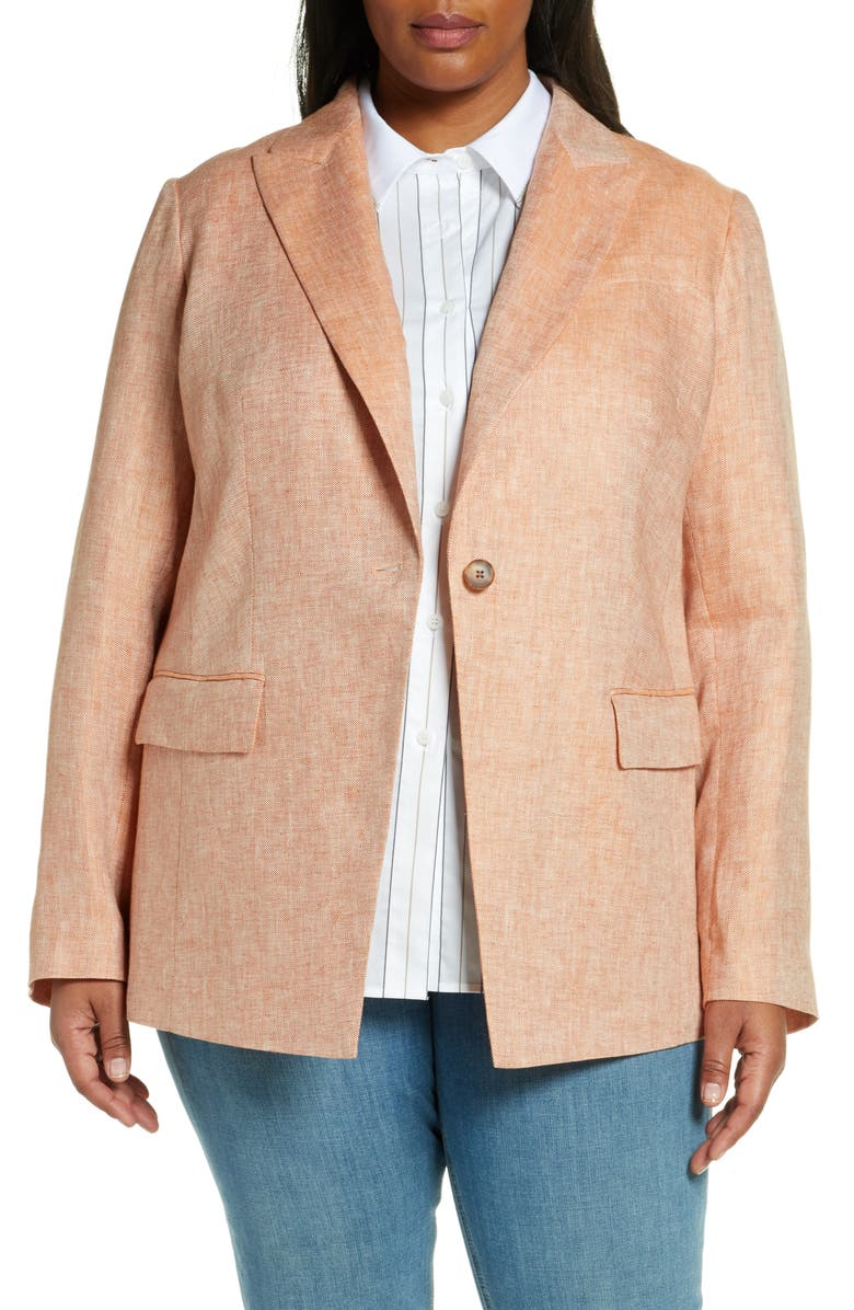 LAFAYETTE 148 NEW YORK Atticus Linen Blazer, Main, color, SEDONA MULTI