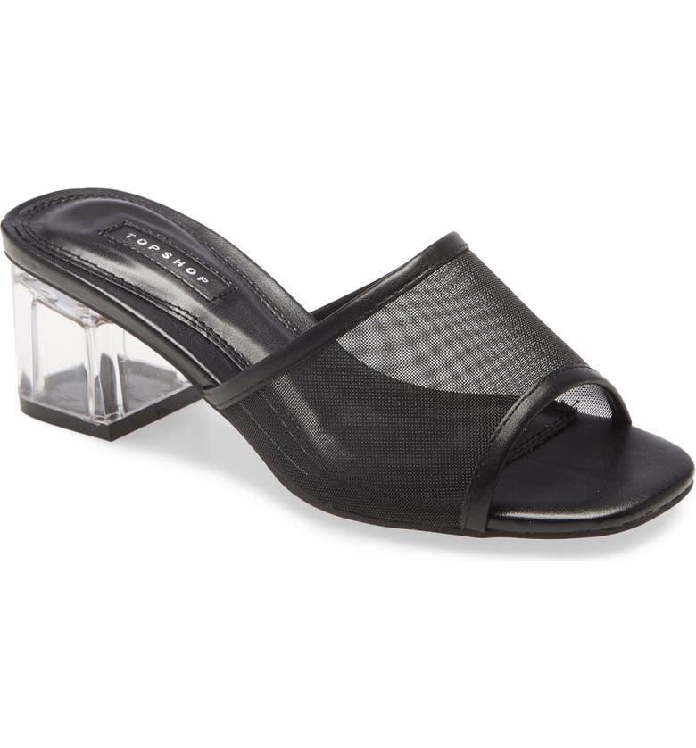 TOPSHOP Dusty Block Heel Slide Sandal, Main, color, 001
