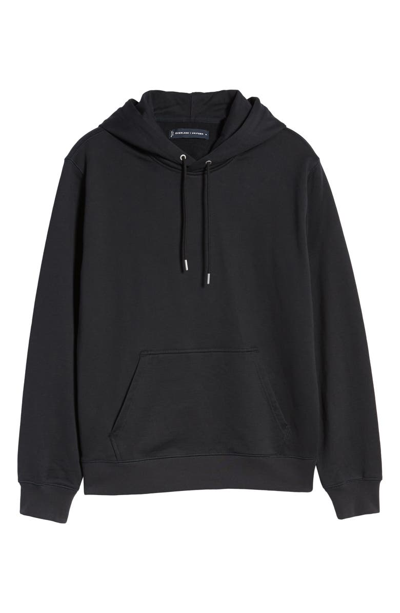 EVERLANE Uniform French Terry Hoodie, Main, color, BLACK