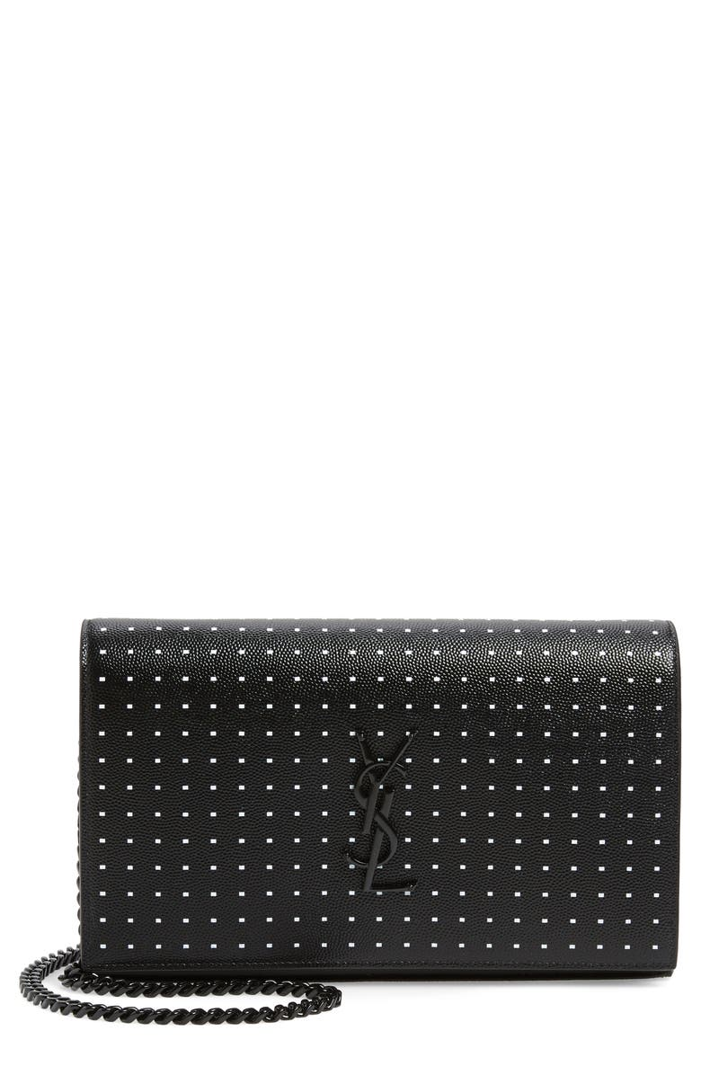 SAINT LAURENT Kate Square Dot Wallet on a Chain, Main, color, NOIR/ BLANC