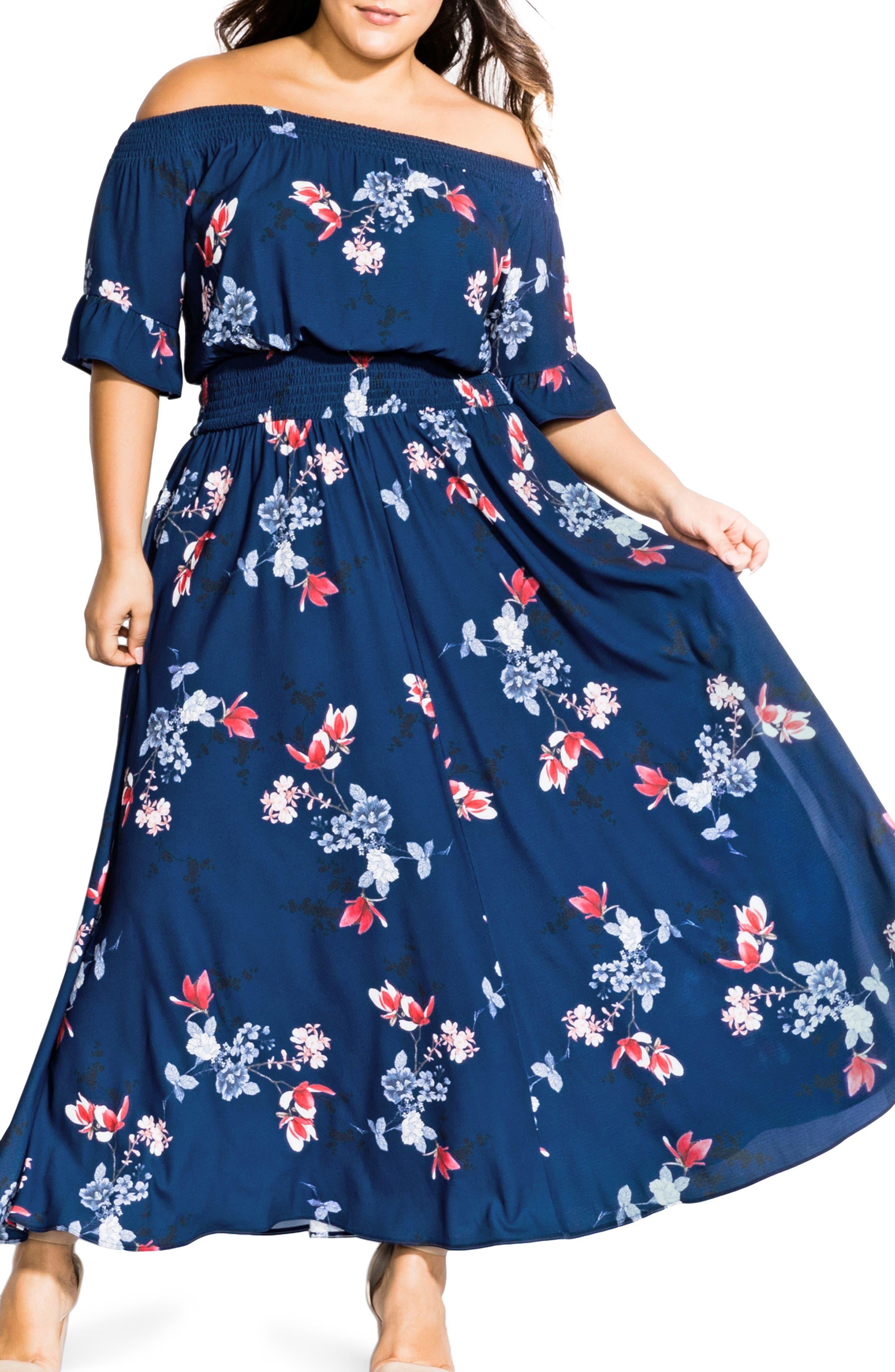 Plus Size City Chic Lotus Love Off The Shoulder Maxi Dress, Blue