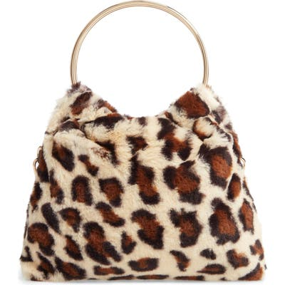 Sole Society Loray Faux Fur Top Handle Bag - Brown