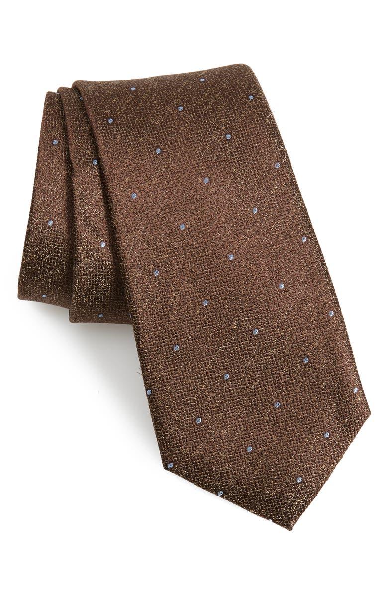 CALIBRATE Mangan Dot Silk Tie, Main, color, TAN