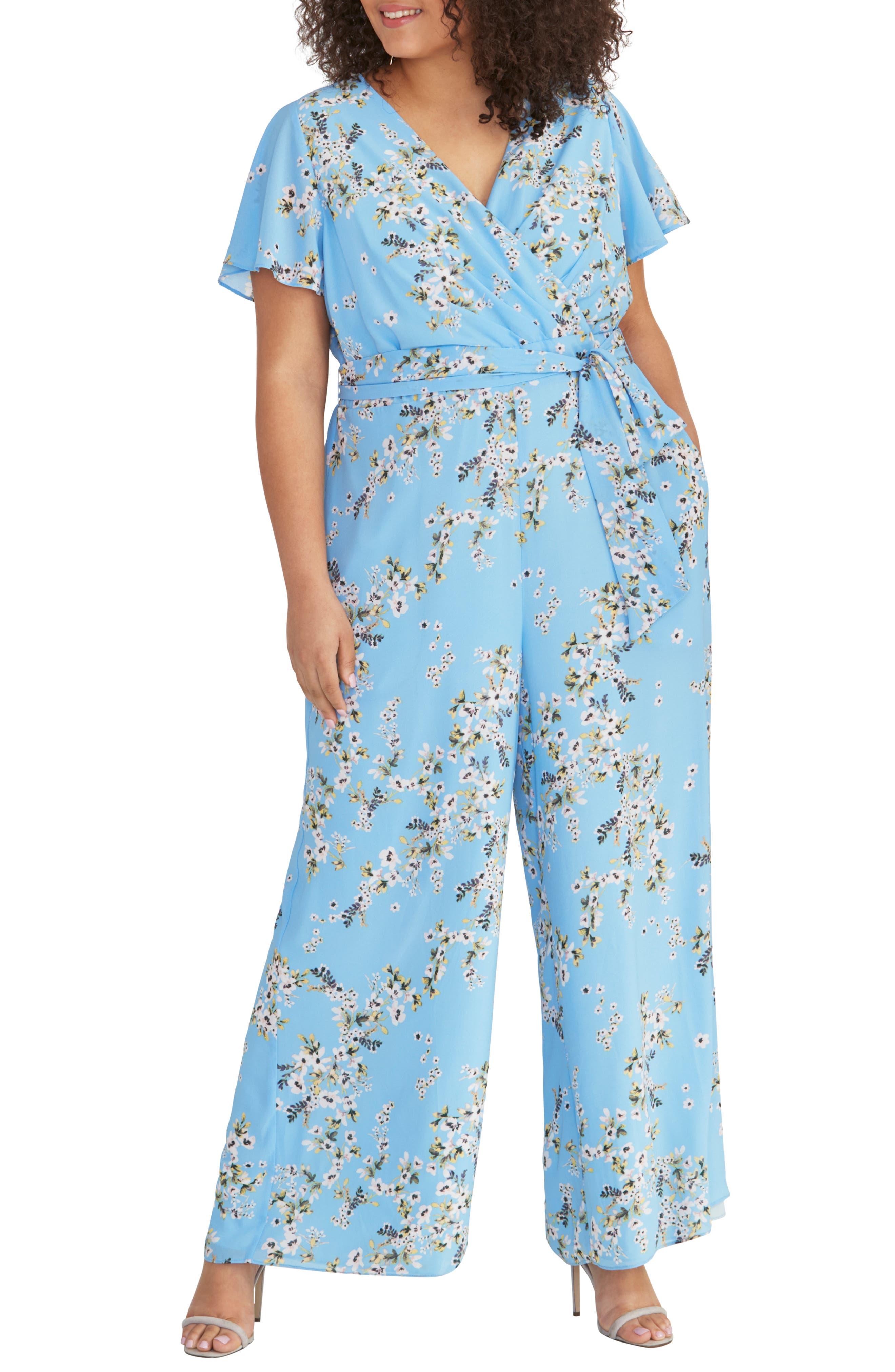 1930s Wide Leg Pants and Beach Pajamas Plus Size Womens Rachel Rachel Roy Floral Tie Waist Jumpsuit $159.00 AT vintagedancer.com