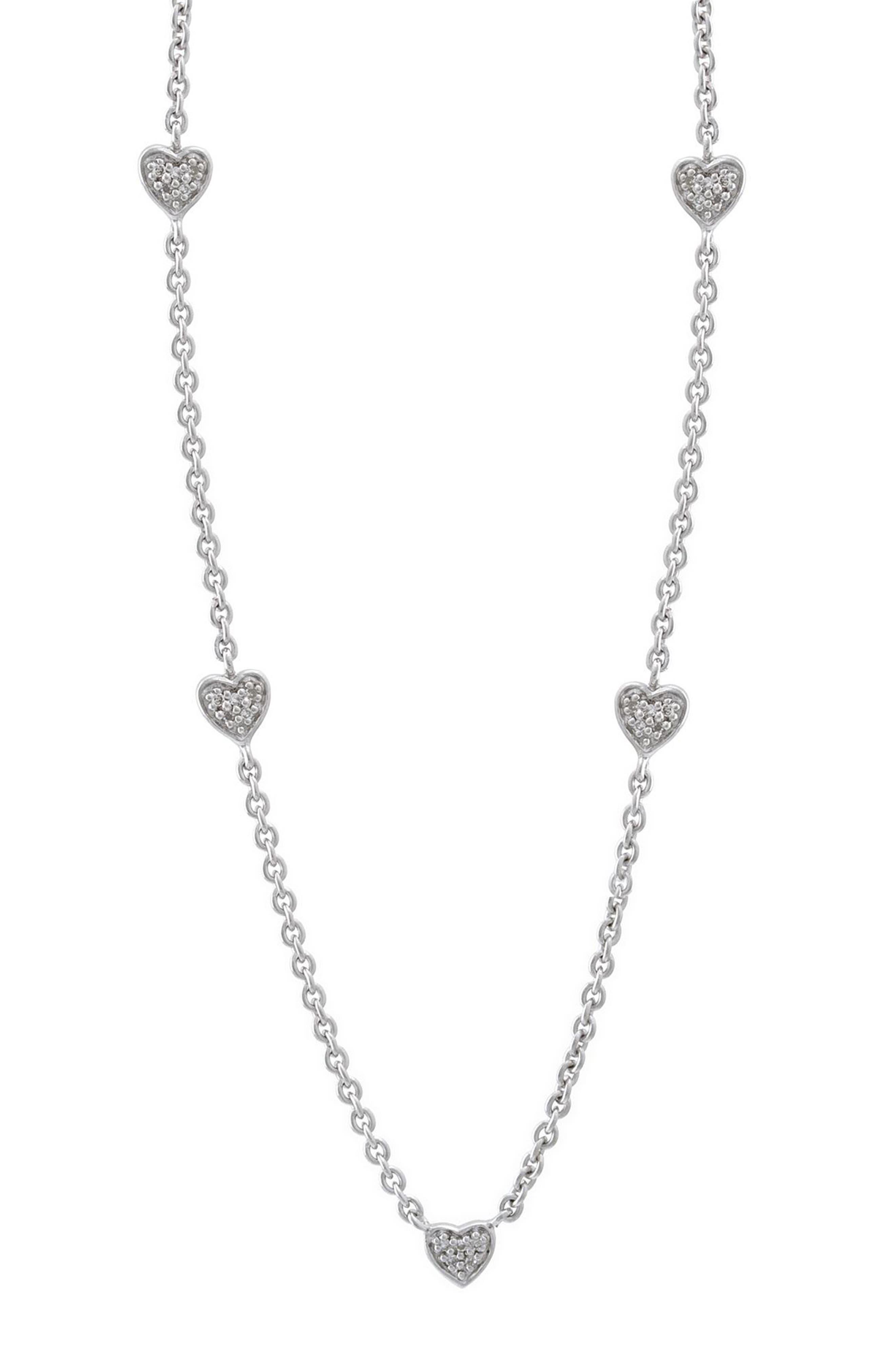 Diamond Heart Station Necklace