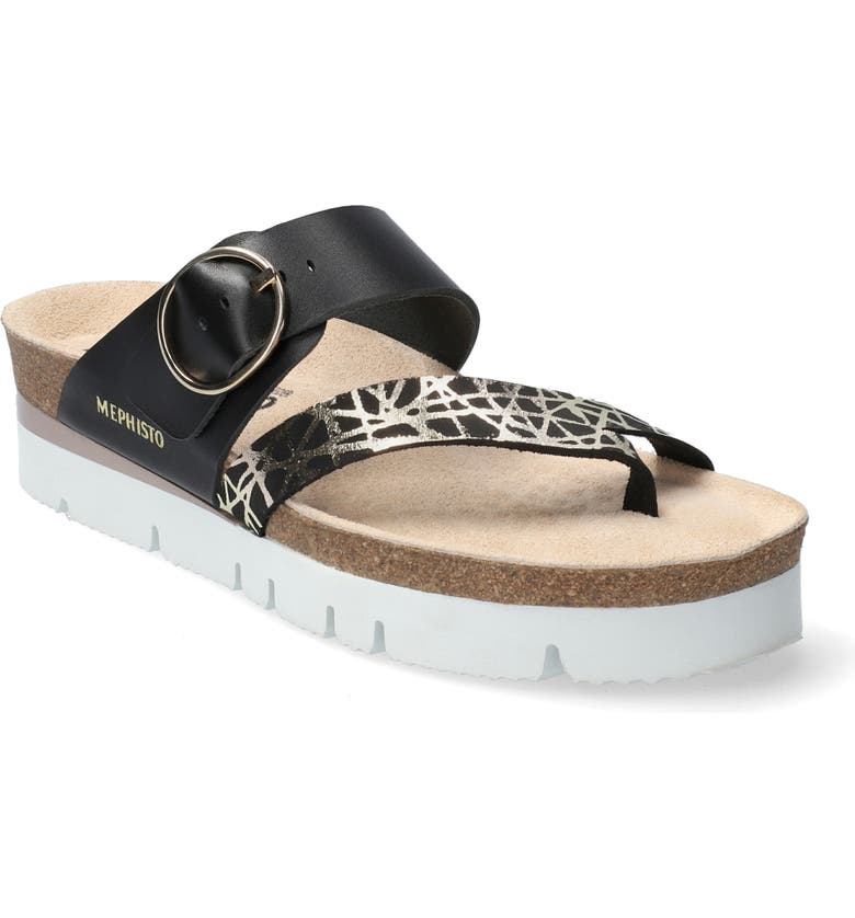 MEPHISTO Vik Slide Sandal, Main, color, BLACK PRINTED LEATHER