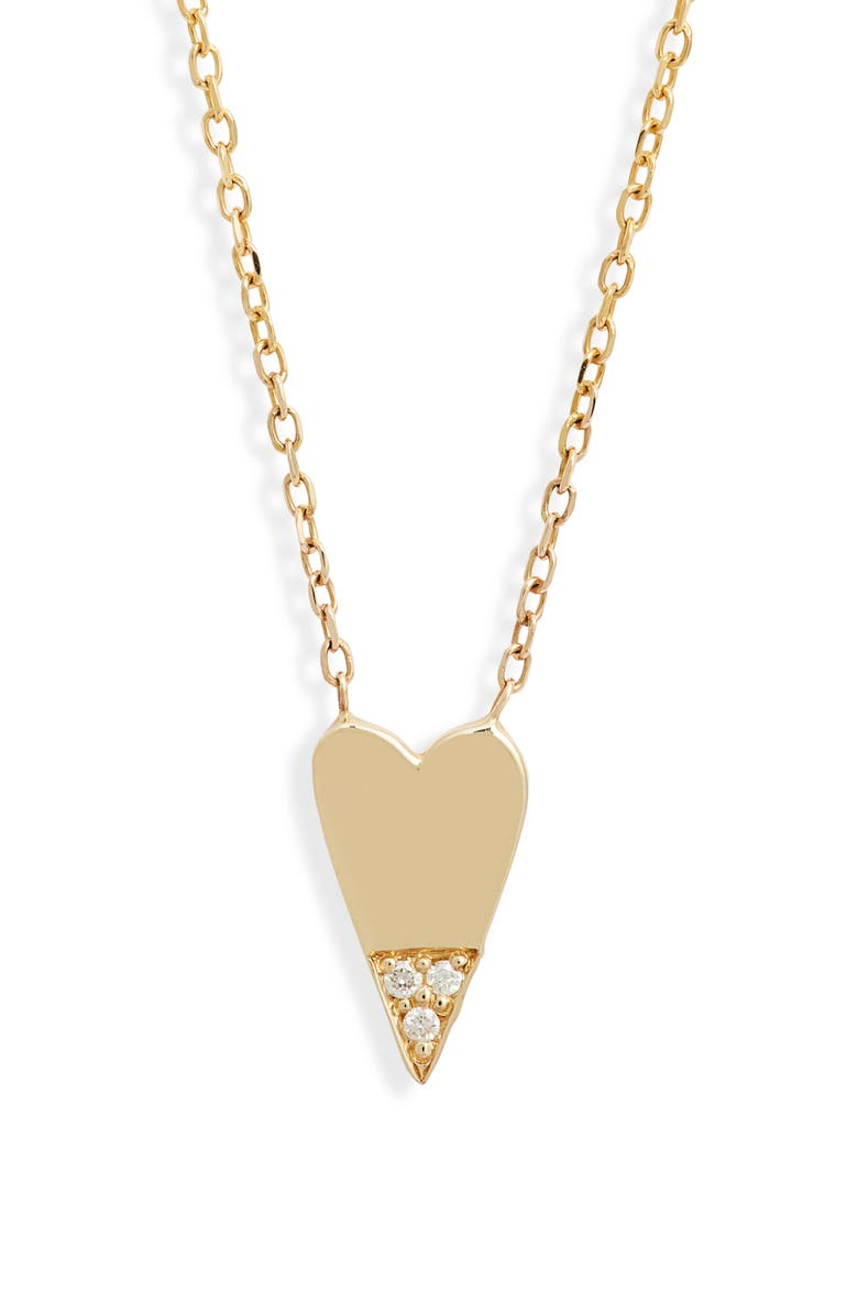 JENNIE KWON DESIGNS Diamond Dipped Heart Necklace, Main, color, YELLOW GOLD/ DIAMOND