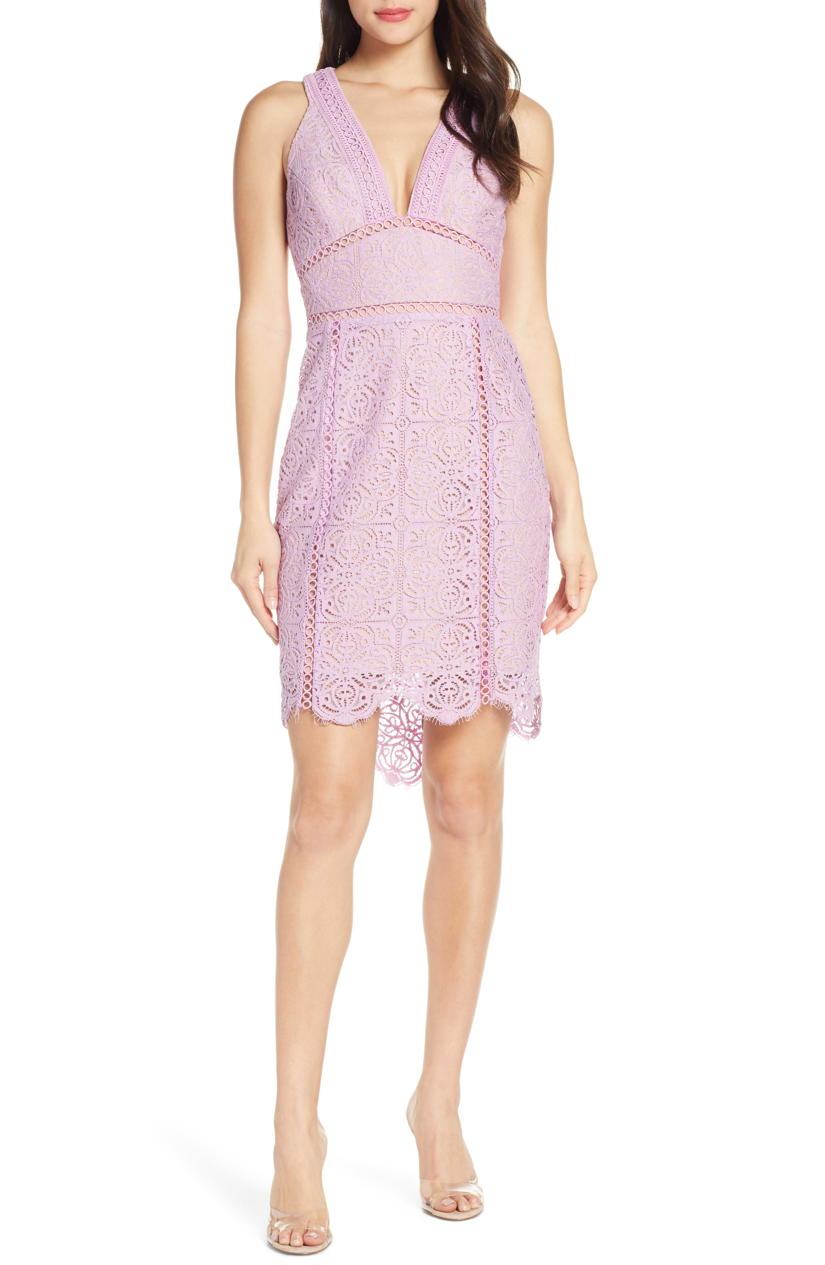 Harlyn Plunge Neck Lace Minidress, Purple