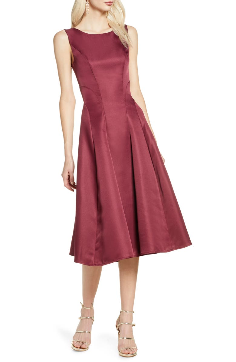 CHI CHI LONDON Bracken Satin Fit & Flare Cocktail Dress, Main, color, BURGUNDY