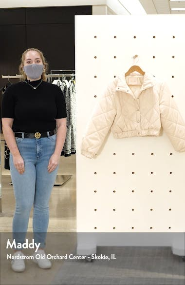 Diamond Quilted Crop Puffer Jacket, sales video thumbnail