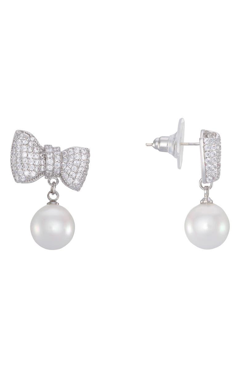 NINA Bow & Imitation Pearl Drop Earrings, Main, color, PEARL/ SILVER