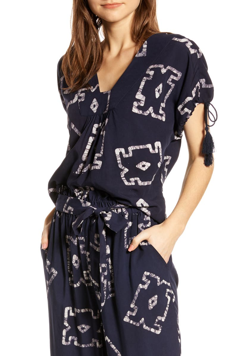 THE ODELLS Sierra Batik Tie Sleeve Top, Main, color, CRETE