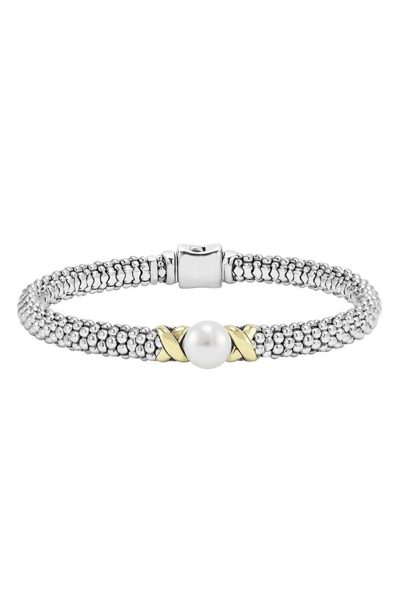 LAGOS Luna Pearl Rope Bracelet, Main, color, SILVER/ GOLD/ PEARL