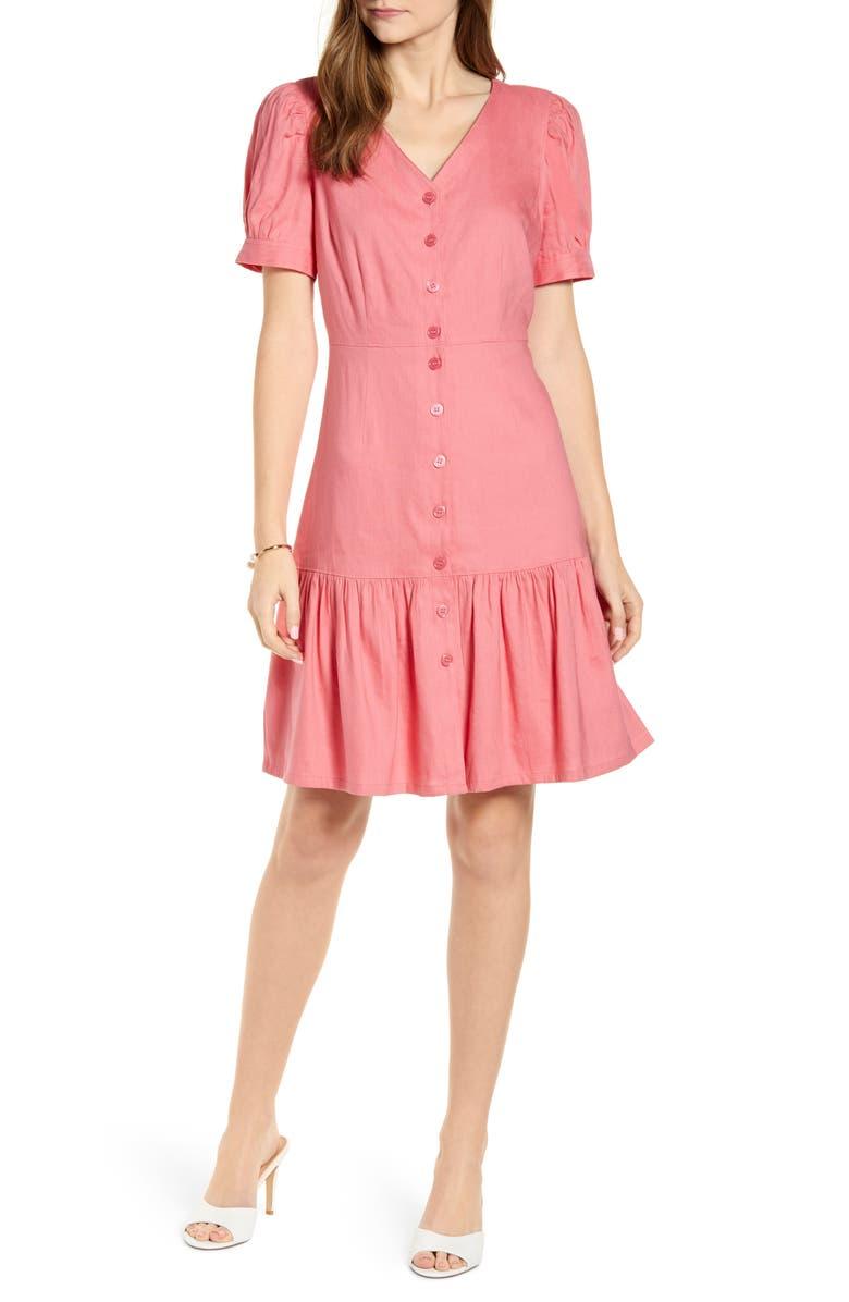 RACHEL PARCELL Flirty Easy Linen Blend Shirtdress, Main, color, 660