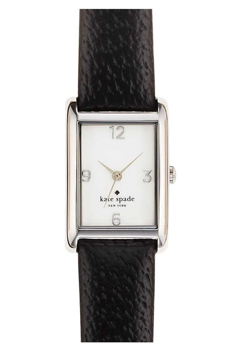 KATE SPADE NEW YORK 'cooper' leather strap watch, 21mm x 32mm, Main, color, 001
