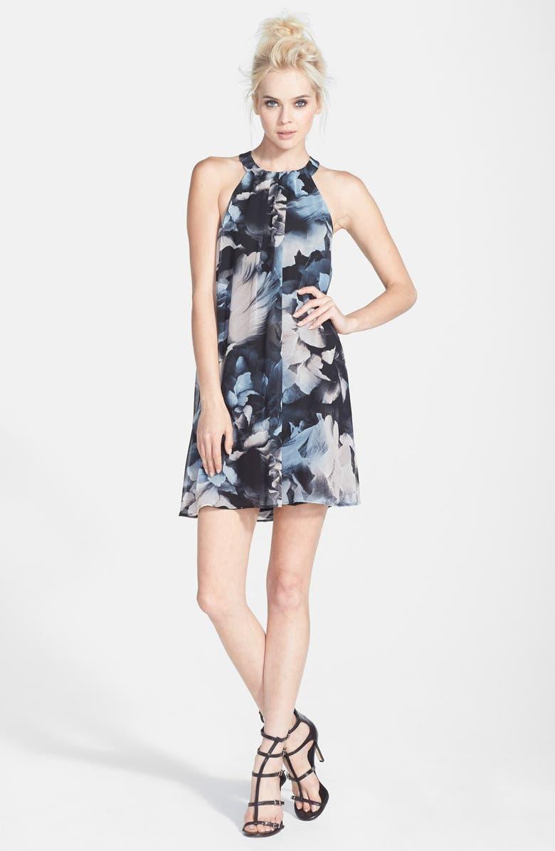 ASTR THE LABEL ASTR High Neck Trapeze Dress, Main, color, 001