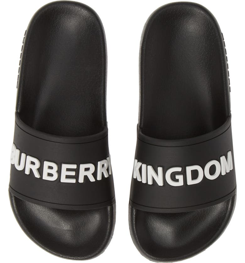 BURBERRY Furley Logo Slide Sandal, Main, color, BLACK/OPTIC WHITE