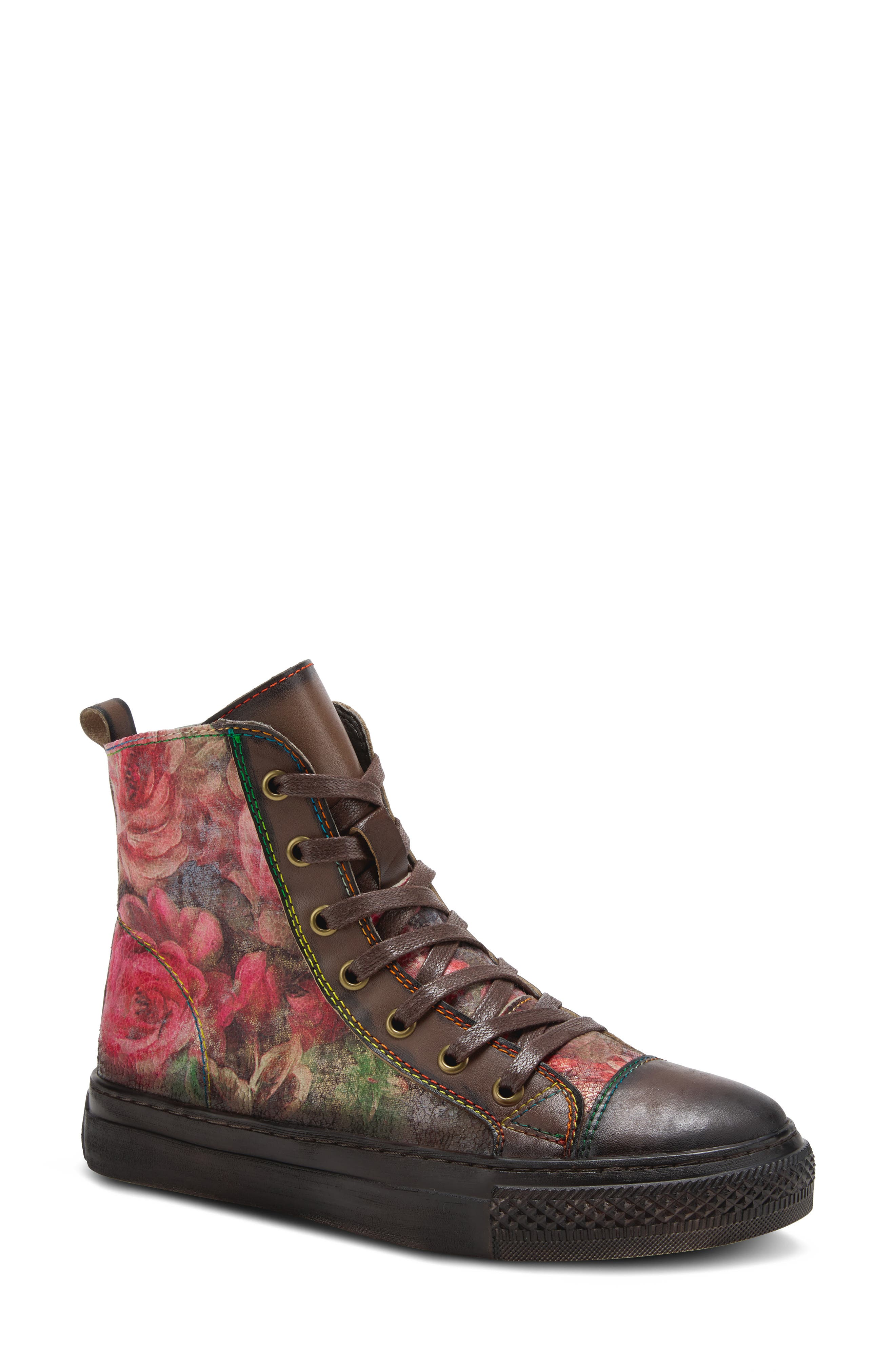 Colorful floral patterns swirl across this fun-loving combat boot outfitted with a cap-toe, contrast stitching and cozy faux-fur lining. Style Name: Spring Step Rose Combat Boot (Women). Style Number: 6143703. Available in stores.
