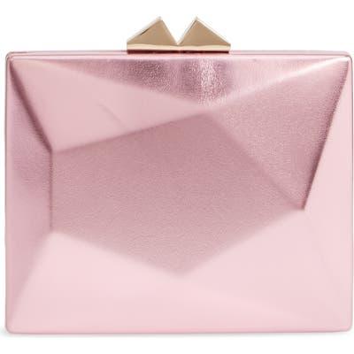 Nina Geometric Faux Leather Minaudiere - Pink